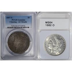 2 MORGAN DOLLARS :1897-S PCGS GENUINE