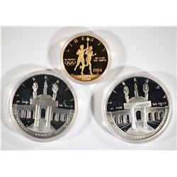 1984 OLYMPIC PROOF SET; 2-SILVER DOLLARS, $10 GOLD