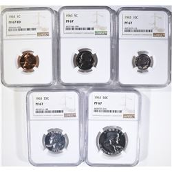 1963 PROOF SET, ALL COINS NGC PF-67 RED