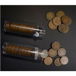 1906 & 1907 CIRC INDIAN CENT ROLLS ( 100 ) COINS