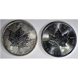 2011 & 2016 ONE Oz SILVER CANADA MAPLE LEAF COINS