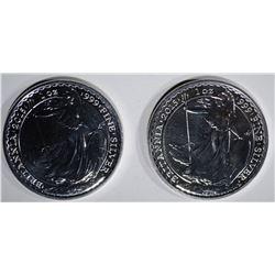 2-BU 2015 BRITISH ONE OUNCE SILVER BRITANNIA COINS