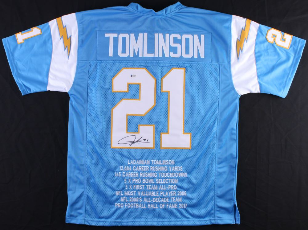 low priced 7f5c3 4e544 LaDainian Tomlinson Signed Chargers Career Highlight Stat ...