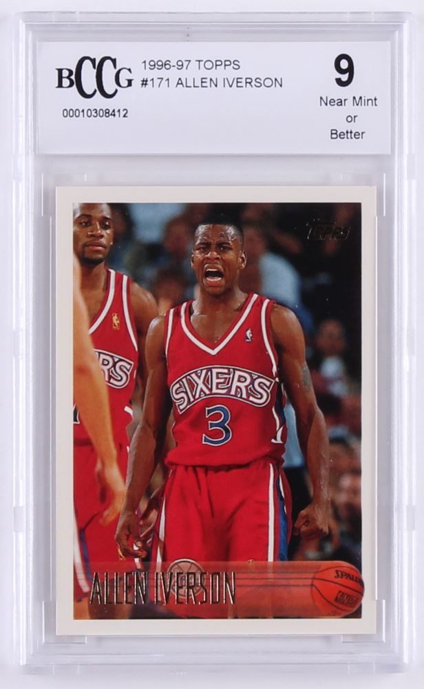 buy popular fcc39 b4fae 1996-97 Topps #171 Allen Iverson RC (BCCG 9)