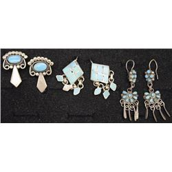 THREE PAIR NAVAJO AND ZUNI EARRINGS