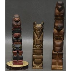 THREE NORTH WEST COAST TOTEMS