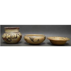 THREE HOPI POTTERY ITEMS