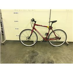 RED DEVINCI MELBOURNE 27 SPEED ROAD BIKE WITH REAR DISK BRAKE AND CLIP PEDALS