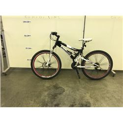 BLACK AND WHITE SCHWINN FULL SUSPENSION MOUNTAIN BIKE WITH FRONT AND REAR DISK BRAKES