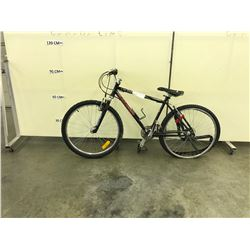 BLACK RALEIGH 24 SPEED FRONT SUSPENSION MOUNTAIN BIKE, CONDITION UNKNOWN