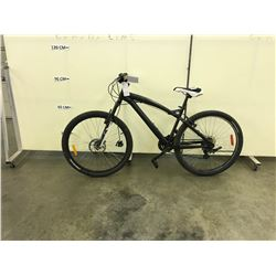 BLUE NO NAME 24 SPEED FRONT SUSPENSION MOUNTAIN BIKE WITH FRONT DISK BRAKE, FRONT BRAKE MECHANISM