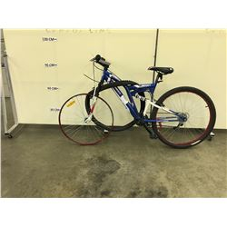 "BLUE SUPERCYCLE ""BEAST 29"" 21 SPEED FULL SUSPENSION MOUNTAIN BIKE, NEEDS NEW FRONT TIRE"
