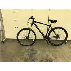BLACK KHS 27 SPEED FRONT SUSPENSION HYBRID TRAIL BIKE WITH FRONT AND REAR HYDRAULIC DISK BRAKES