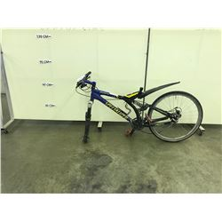 BLUE AND BLACK SPECIALIZED ENDURO FULL SUSPENSION MOUNTAIN BIKE, MISSING SEAT AND FRONT WHEEL