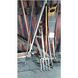 Spade, Fork, Rakes, Hoe, Broom