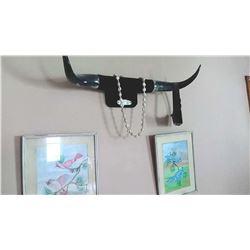 Cow Horns, 2 Framed Bird Illustrations