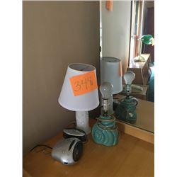 BUNDLE LOT: White Vanity Lamp, 2 Clock Radios, Framed Deer Picture