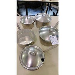 BUNDLE LOT: 5 Wear-Ever Aluminum Kettles w/ Lids, 3 Wear-Ever Handled Aluminum Kettles