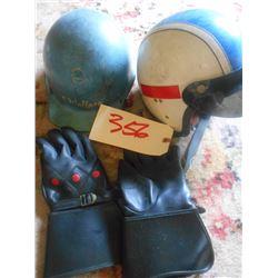 Vintage Racing Helmet & Gloves, Centurion Helmet