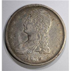 1838 REEDED EDGE HALF DOLLAR, XF large die break