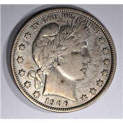 1906 BARBER HALF DOLLAR, XF