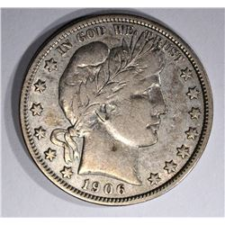1906 BARBER HALF DOLLAR, XF