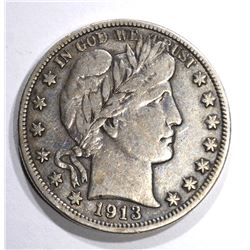 1913 BARBER HALF DOLLAR, VF KEY COIN