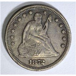 1872 SEATED LIBERTY QUARTER, VF/XF