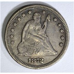 1872 SEATED LIBERTY QUARTER, VF/XF