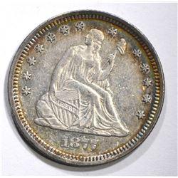 1877 SEATED QUARTER, BEAUTIFUL ORIGINAL CH BU