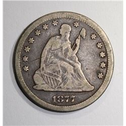 1877-CC SEATED QUARTER, FINE
