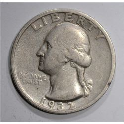 1932-S WASHINGTON QUARTER, VF scratches rev