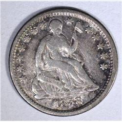 1858-O SEATED HALF DIME, XF