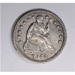 1844-O SEATED HALF DIME, XF/AU RARE KEY DATE
