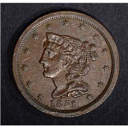 1851 HALF CENT, BEAUTIFUL ORIGINAL UNC