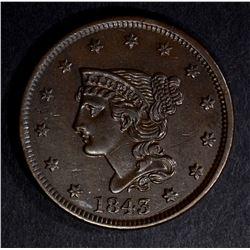 1843 LARGE CENT, CH BU
