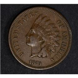 "1873 ""OPEN 3"" INDIAN CENT, XF"
