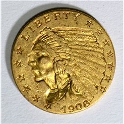 1908 $2.50 INDIAN GOLD, XF