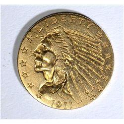 1911 $2.50 INDIAN GOLD, XF/AU