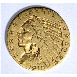 1910-S $5.00 GOLD INDIAN, XF ( WEAK S )
