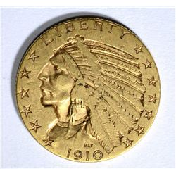 1910-S $5.00 GOLD INDIAN, XF ( WEAK S )