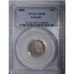 1885 CANADA TEN CENTS PCGS XF 40 RARE