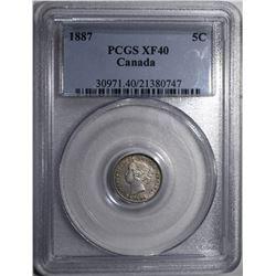 1887 CANADA 5 CENTS PCGS XF 40 RARE!