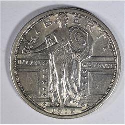 1917 TY.1 STANDING LIBERTY QUARTER  AU