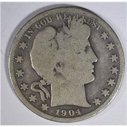 1904-S BARBER HALF DOLLAR  G+