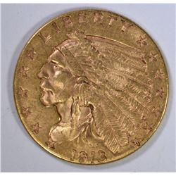 1913 $2 1/2 GOLD INDIAN HEAD  BU+