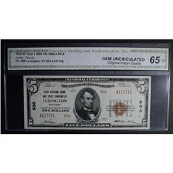 1929 TYPE 2 $5.00 NATIONAL CURRENCY