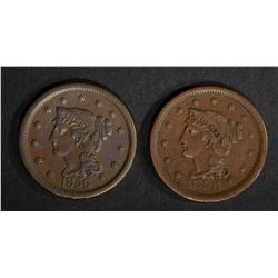 2-VF/XF 1856 LARGE CENTS