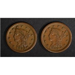 2-VF 1853 LARGE CENTS
