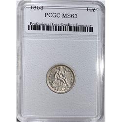 1853 SEATED DIME, PCGC CH BU